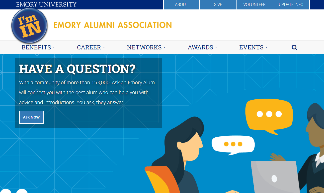 Emory University uses Protopia to let alumni and students simple ask for help, and to get it.